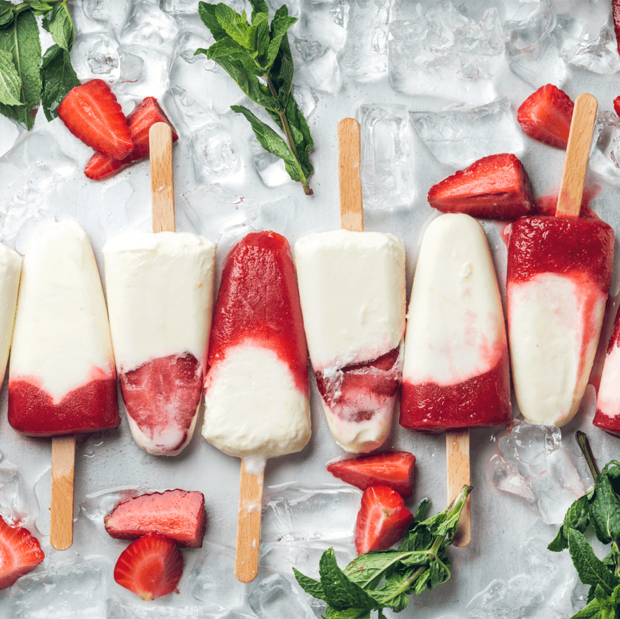DIY Popsicles Cool Treats Strawberry Yogurt Ice Cream Image